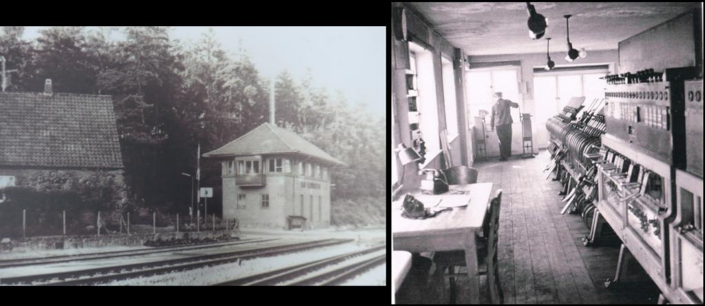 Stellwerk und Schrankenwärter Evers(Quelle: Sammlung von Hans-Harald Kloth; rechts:Weichenwärter Evers 1952 im Stw Sn)